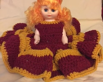 White Bed Doll with Crocheted Dress