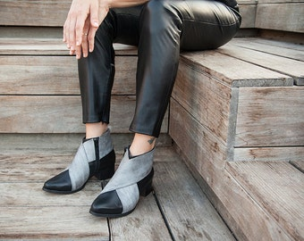 Black Leather Boots~ Black Leather Shoes~ Woman Gray Shoes~ Black Leather booties~ Womens Boots~ Ankle Boots~ Criss Cross Shoes ~Women shoes
