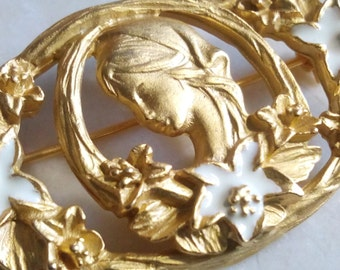 YOUNG LADY BROOCH. Gorgeous Enameled Floral Motif/Maiden Pin/Accessory/Memento. Beautiful Girl/Pretty White Flowers/Lovely Gold Gilt Setting