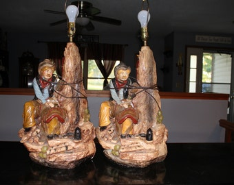 Texas Rustlers pair of vintage chalk lamps
