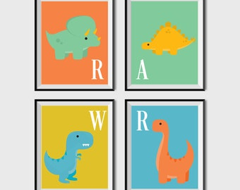 Dinosaur Nursery Print   Set Of 4   Kids Wall Art   Printable Nursery Wall  Art Part 12