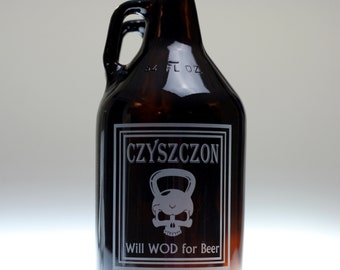 Personalized Will WOD for beer growler, home brew gift , homebrew , beer gift , personalized gift , dad gift , christmas gift , friend gift