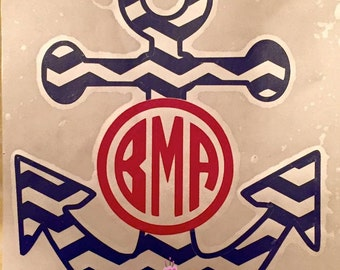 Anchor Monogram Car Decal- Chevron Anchor- Anchor Decal- Monogram Decal