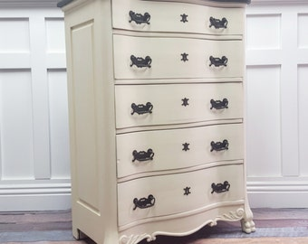 Black & White Serpentine Tallboy dresser