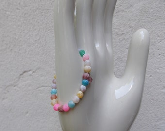 Small Multi-Color Child's Bracelet - Elastic with Glass Beads