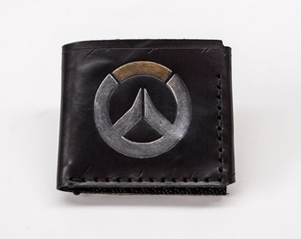 Overwatch themed Leather Wallet - Trifold Wallet- Six card slots - EXPRESS SHIPPING