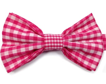 Pink Gingham Bow Tie, Kids Bow Tie, Boys Bow Tie, Childrens Bow Tie, Page Boy Bow Tie, Toddler Bow Tie, Birthday Bow Tie, Wedding Bow Tie
