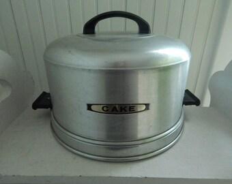 Kromex Spun Aluminum Pie or Cake Carrier - Mid Century Kitchen Bakery Cake Carrier - Vintage Kromex Cake Carrier with Handle - Spun Aluminum