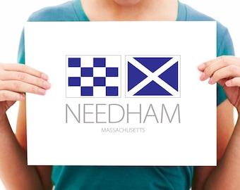 Needham - Massachusetts - Nautical Flag Art Print