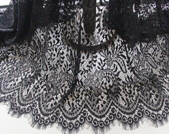 Black lace curtains – Etsy