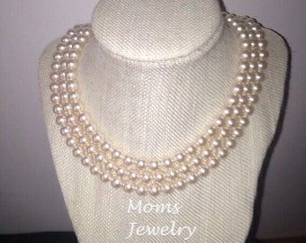Moms Jewelry Creations/Swarovski Pearl Necklace/Vintage chic rhinestone clasp/multi strand/Bridal necklace/Wedding/Neck Candy/June Birthday