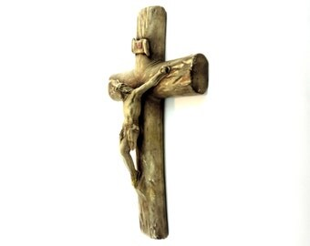 French Vintage Crucifix/ Vintage French Large Ceramic Crucifix/ Ceramic Grave Crucifix