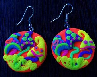 Handmade Earrings Mushroom psychedelic glows in uv psy festival Accessorie