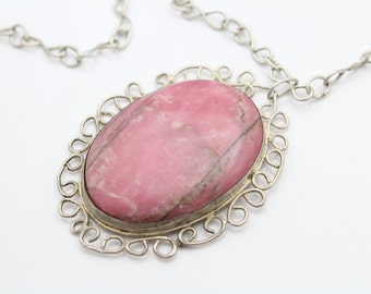 OOAK Vintage Handmade Sterling Silver with Rasberry Rhodonite Necklace. [6472]