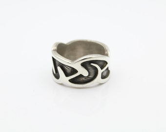 Swirl Design Heavy Thick Ring Solid Sterling Silver Size 9.5. [7368]