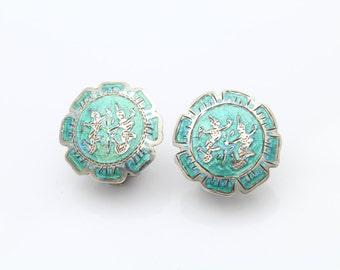 VTG Siam Green Enamel Dancing Ladies Clip Back Earrings. [8036]