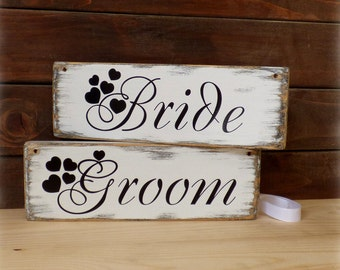 Wedding chair signs , Bride and Groom signs, vintage wedding signs, Bride & Groom signs, rustic wedding signs, groom and bride signs