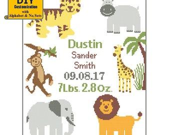 Jungle Cross Stitch Tiger Elephant Lion Giraffe Monkey Hippo DIY customizable Pattern Birth Announcement Birth Record Baby Birth sampler