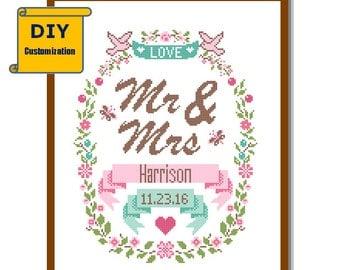 Wedding cross stitch DIY customizable Pattern Modern Mr & Mrs Family Name wreath floral Wedding Record Wedding Anniversary House Warming