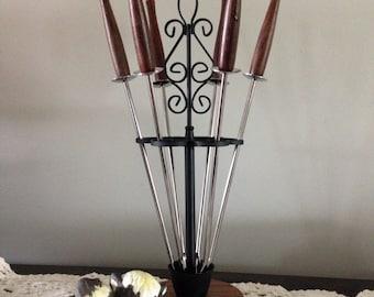 Fondue Fork Set With Holder