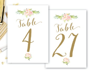 Printable Table Numbers Floral, Floral Table Numbers, Boho Floral Table Numbers, Wedding Table Number, DIGITAL The Colette