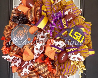 House Divided Football Wreath, Football Decoration, Football Party, Front Door Wreath, LSU Tigers, Made to Order