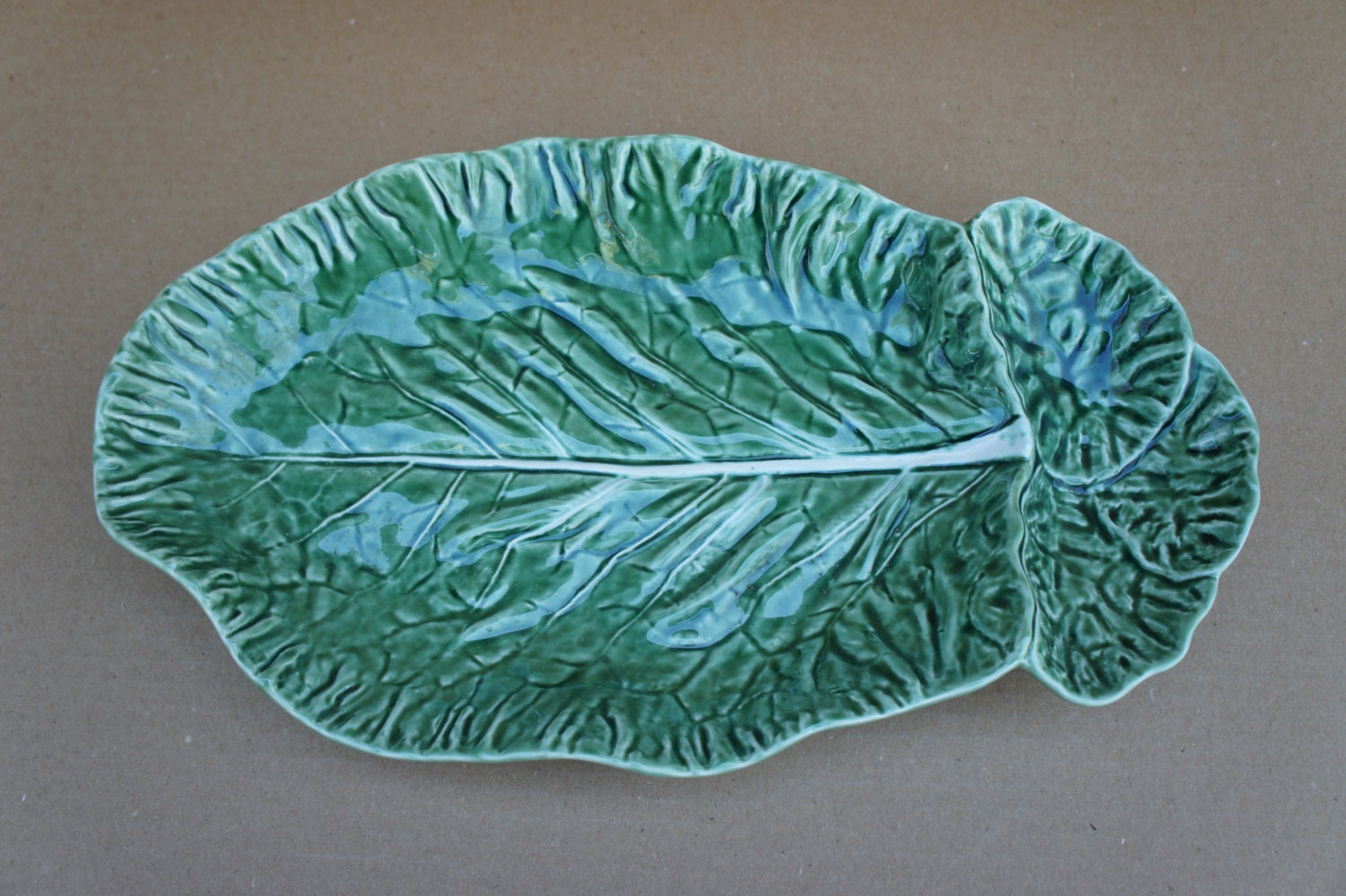 Vintage bordallo pinheiro portugal majolica green cabbage leaf - Bordallo pinheiro portugal ...