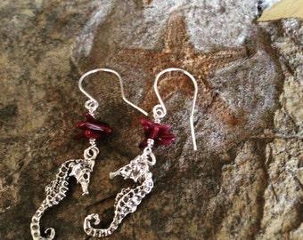 Sea Horse+Coral Earrings