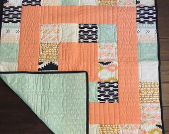 Tribal Modern Baby Quilt- Coral Aztec