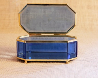 Vintage Etched Blue, Mirrored Glass Box, Bohmian Cut Glass, Crystal COBALT BLUE, Beveled Glass, Mirrored Bottom, Jewelry box, Keepsake