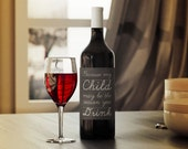 Teacher Gift / Caregiver Gift Wine Label - DIY Instant Download, chalkboard, humorous wine label Printable