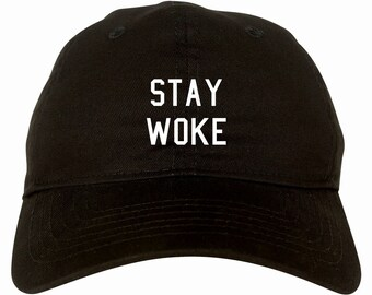 Stay Woke Dad Hat by Fashionisgreat - Pink Khaki White Black