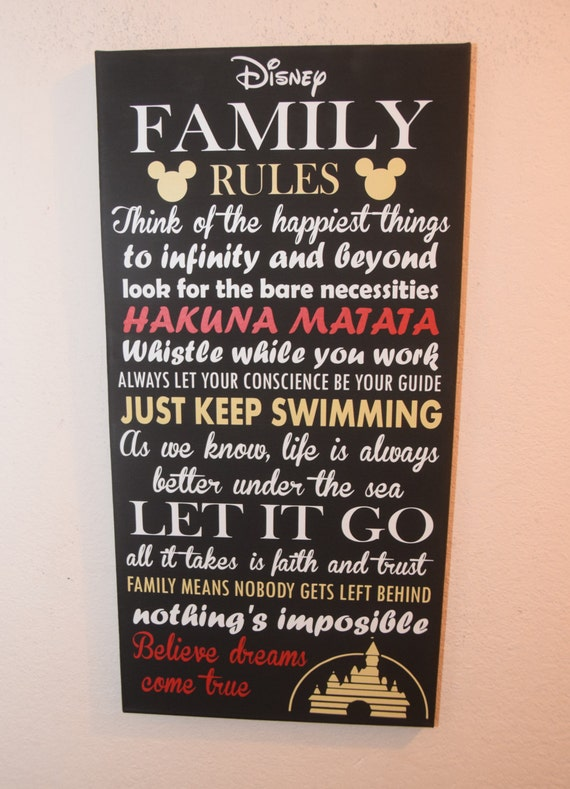 Inspirational Quote Sign Family Rules Unique Disney