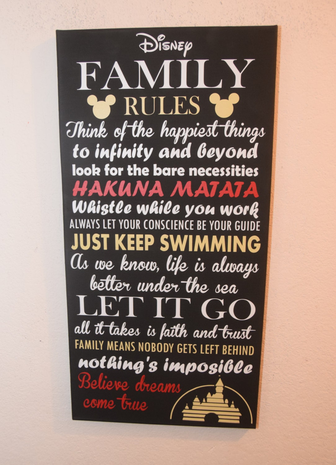 Inspirational Quote Sign Family Rules Sign Unique Disney