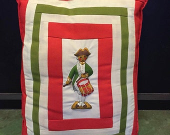 Vintage Drummer Boy Throw Pillow