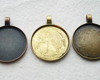 Antique Gold/Copper/Bronze Round Large Bezel Cabachon Setting Pendant 63mm Tray 47mm