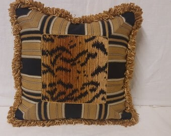 Cool Gold stripes and Tiger Stripes Pillow Covers with Trim and Cording 15 x 15