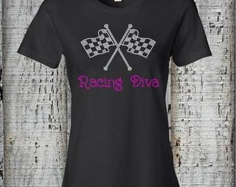 Racing Diva Ladies Bling Tee//Nascar Racing Shirt//Ladies Rhinestone Tshirt//Rhinestone Bling Racing Tee//Womens Racing Shirt w/ Rhinestones