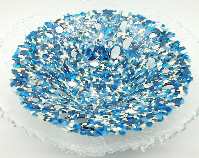 Round blue fused glass dish. Handmade contemporary bowl. Home decor. Wedding anniversary housewarming leaving, special birthday gifts.