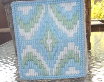 Blue Bargello Tissue Box Cover