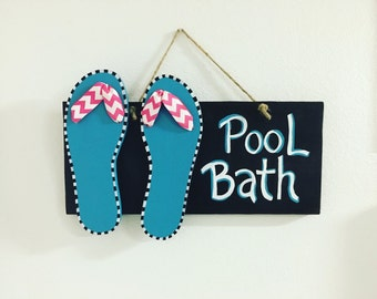 Pool Bathroom Sign Flip Flops Summer Decor Pool Decorations Pool Decor