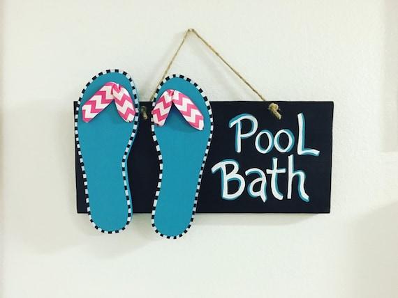 Pool bathroom sign flip flops summer decor pool for Summer bathroom decor