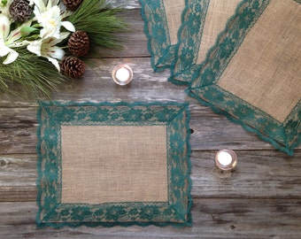 Rustic Placemats - Burlap and DARK GREEN Lace - Wedding Placemat - Rustic Country Wedding - Country Home Decor - French Country Cottage