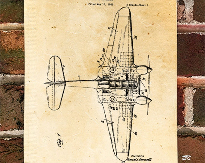 KillerBeeMoto: Duplicate of Original U.S. Patent Drawing For Vintage Burnelli UB 14 Military Style Aircraft