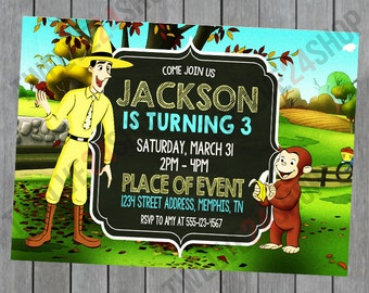 Curious George Birthday Invitation - Curious George Birthday - Curious George Birthday Party - Curious George Party