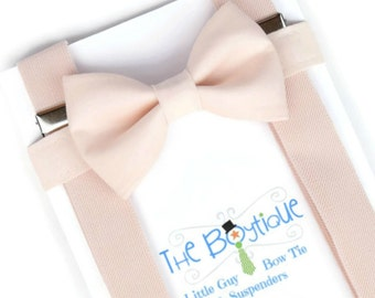 Blush Bow Tie and Suspender Set, Blush Suspenders for Boys, Blush Bow Tie for Babies, Ring Bearer Gift for Toddlers, Adult Blush Suspenders