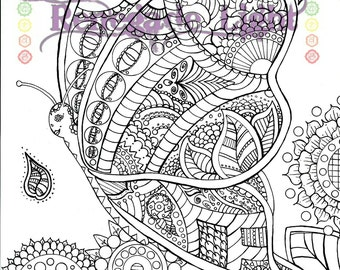 Butterfly coloring page, Zentangle Butterfly, Hippie Butterfly Coloring page, Butterfly Meditation coloring page that is printable