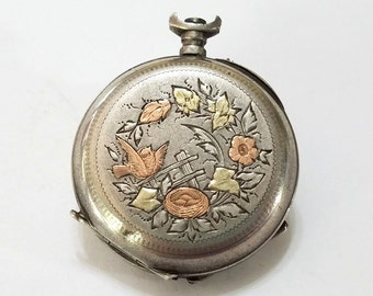 Antique, Tri Color, Pocket Watch, Pendant, Locket, Repair, Steampunk, Beading, Jewelry, Supply, Supplies