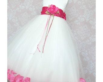 IVORY Flower Girl Dress Fuchsia Flower Petals Fuchsia Sash Junior Bridesmaid Flower Girl Dresses Baby Flower Girl Dress