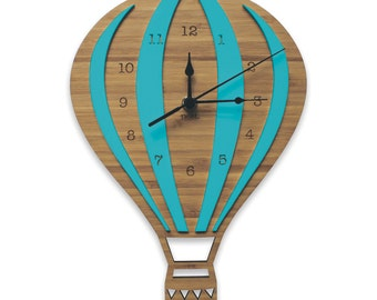 Hot Air Balloon Coloured Wall Clock | Laser cut Nursery & Kids Decor